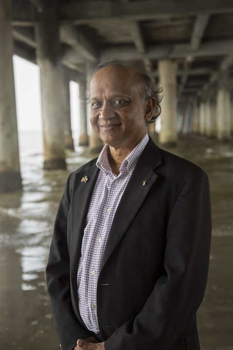 "UH Professor Cumaraswamy Vipulanandan (Vipu), who invented the revolutionary ""smart cement."""