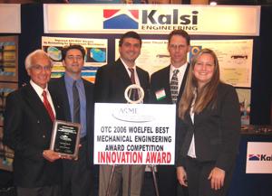 UH Alumnus Manmohan Kalsi is pictured along with Kalsi Engineering associates Aaron Richie (2002 BS ME), Alex Beliaevski, Jeff Gobeli (1996 MS PE), and Tia Baker.