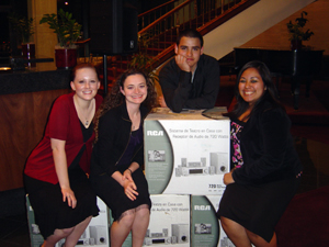 Freshman engineering design team Marie Politte, Sheresa Burkey, Mauricio Salto and Crystal Ibarra, from the PROMES section of ENGI 1100, won second place in the Texas A&M Regional Engineering Conference design competition.  Photo compliments of Julie Trenor.