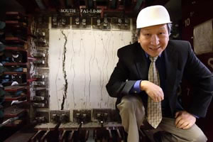 "Civil Engineering Professor Thomas Hsu has spent 20 years testing the durability of reinforced concrete under variable conditions on a piece of equipment called the ""Universal Element Tester"", the only one of its kind in the world.  Photo by Todd Spoth."