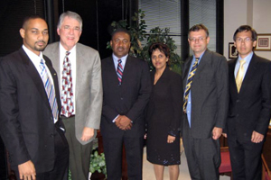 A Jamaican delegation visited with Dean Flumerfelt last week to discuss a possible educational and research partnership. The delegation included (from left) Dr. Gavin Gunter, Geologist, PCJ; the Honourable Phillip Paulwell, Jamaican Minister of Industry, Technology, Energy & Commerce; Dr. Ruth Potopsingh, Group Managing Director, PCJ; Professor Simon Mitchell, University of the West Indies at Mona, Jamaica; and Christopher Cargill, Director, Petrojam Limited.