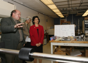 UH President Renu Khator tours Professor Dmitri Litvinov's electromagnetics lab to learn about nanomaterials research currently being conducted at the Cullen College of Engineering. Photo by Todd Spoth.