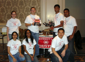 Electrical and computer engineering students compete in the 2008 IEEE Robotics Competition. Pictured are (from top left to right) Nicole Stewart, Dustin Reynolds, Kalpesh Patel, Lahiru Jinadasa, (bottom left to right) Anita Shah, Akshaya Koshy and Jhonny Feng. Not pictured: Wolly Ekanayake.