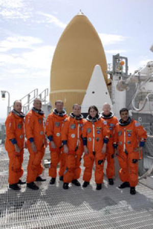 Cullen College alumnus Danny Olivas (far left) with the crew of the upcoming Discovery STS-128 mission. Photo courtesy of NASA.