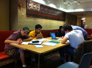 Cullen College Students studying between classes.