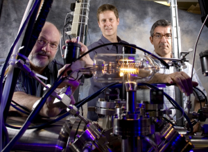 Chemical and biomolecular engineering faculty members Vince Donnelly (left) and Demetre Economou (right) won a $150,000 grant from the National Science Foundation to develop a technique to etch materials with atomic layer precision. They are shown here with ECE Associate Professor Paul Ruchhoeft (center).