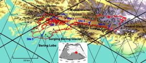 Satellite altimeter tracks over the Bering Glacier in Alaska.