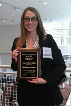 Alexandra Lupulescu, winner of the 2012 AIChE CRE Division Poster Competition.
