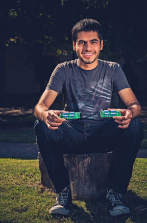 Rakshak Talwar, electrical and computer engineering major at the Cullen College of Engineering, and his Programmable Capacitors