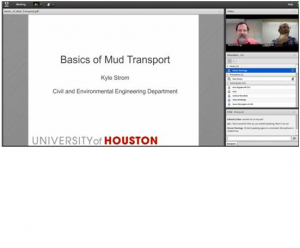 "Kyle Strom delivers course lecture on ""Basics of Mud Transport"" using Adobe Connect software."