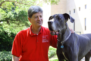 ECE Professor Stuart Long with Great Dane, Grayson