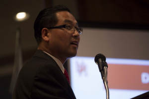 Lim spoke about the new IE/MBA program at the spring IE Awards Banquet.