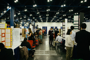 Science fair participants exhibit their experiments at the 2014 Science and Engineering Fair of Houston