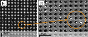 LEFT: The system being developed by Cullen College Researchers diagnoses disease by blocking holes with pathogens and some other connected material, in this case silver particles, preventing light from shining through. RIGHT: A close-up of nanoholes blocked by these particles.