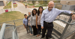 The steps to success include winning scholarships for these UH engineering students: (L-R) Harry Diaz, Rawan Almallahi, Sharon John and Priya Patel. Leading the way (far right) is Undergraduate Program Director for the Chemical Engineering Dept. Micky Fleischer