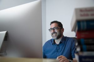 It all starts here: At the computer, Theocharis Baxevanis creates new technology for the aerospace industry