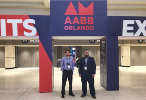 Biomedical Engineering Associate Professor Sergey Shevkoplyas with Nathaniel Piety at AABB annual meeting in Orlando