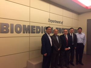 From left, Dr. Lintao Cai, Dr. Guanglin Li, Dr Metin Akay, chair, UH BME department, Dr. Hairong Zheng, Dr Yingchun Zhang, UH BME Department