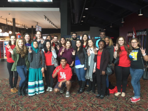 "Members of SWE-UH pose for a photo after seeing ""Hidden Figures"" in the theater"