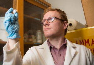Ryan Poling-Skutvik examines a nanocomposite made of polystyrene grafted to silica particles