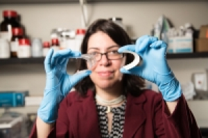UH Researcher Haleh Ardebili with her flexible, bendable and stretchable batteries