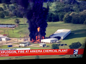 The explosion and fire at the Arkema chemical plant in Crosby, TX was part of the cost of Hurricane Harvey. Photo Credit: Terry Hammonds