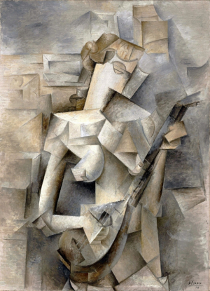 Girl with a Mandolin (Fanny Tellier, 1910) By Pablo Picasso - wordpress, PD-US, https://en.wikipedia.org/w/index.php?curid=38782663