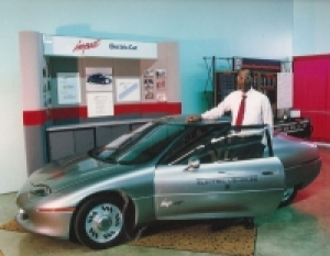 Rajashekara with the the initial prototype of the GM EV1. He worked on propulsion technologies.