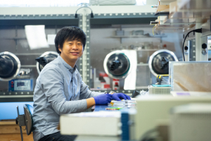 Kyoseung Sim works on wearable HMI devices as a post doc researcher at the UH Cullen College of Engineering