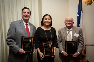 2019 Inductees into the Academy of Distinguished Civil & Environmental Engineers ( L-R): Dennis Paul, Eliza Paul, and Orval E. Rhoads Jr.