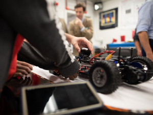 Students are building a robotic car capable of traveling up to 10 mph as part of the project.