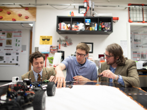 Researchers involved in the project include Dylan Shell, left, of Texas A&M University, project leader Aaron Becker of the UH Cullen College of Engineering, center, and Jason O'Kane of the University of South Carolina