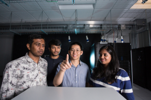 Hien Van Nguyen, assistant professor of electrical and computer engineering, with some students at the UH Cullen College of Engineering
