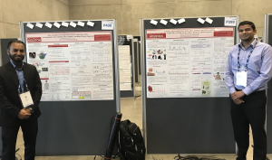 Cullen College electrical engineering doctoral students Dilranjan Wickramasuriya and Md. Rafiul Amin at a EMBC poster session.