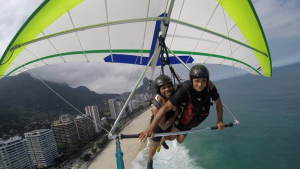 Jerrod Henderson, director of UH Cullen College's Program for Mastery in Engineering Studies (PROMES), encourages students to embrace new experiences...including hang-gliding.
