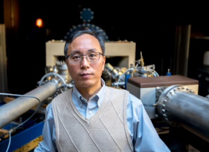 Jiming Bao, associate professor of electrical and computer engineering at UH, led an international group of researchers investigating how a two-dimensional perovskite composed of cesium, lead and bromine was able to emit a strong green light.