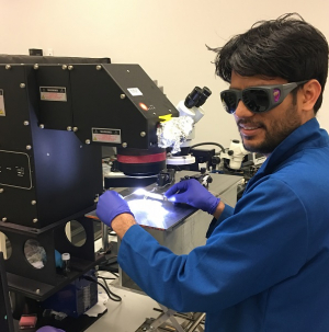 Devendra Khatiwada, a UH materials science and engineering doctoral student, working on the Selva Research Group's solar cell project.