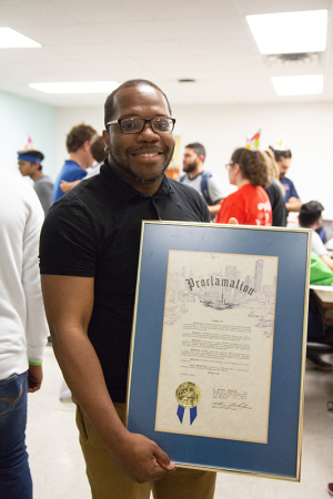 "Jerrod Henderson with the UH Cullen College of Engineering celebrates ""PROMES Day,"" which was recognized by the City of Houston."