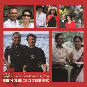 UH Cullen College's Suresh Khator with his valentine, UH President Renu Khator