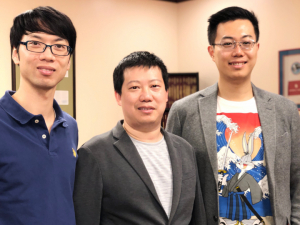 "Yanliang ""Leonard"" Liang, left, Yan Yao and Zheng Fan are working on a $1 million project to better understand what causes solid-state lithium batteries to fail."