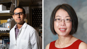 UH engineering professor Navin Varadarajan (L) and pharmaceutics professor Xinli Liu (R) are collaborating on development and testing of a COVID-19 inhalation vaccine.