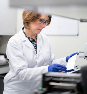 Dr. Katerina Kourentzi, Research Associate Professor of Chemical and Biomolecular Engineering, is developing a saliva-based lateral flow assay rapid test for COVID-19 detection. The test strips for the assay are designed using the Biodot XYZ3060 Dispensing Platform.