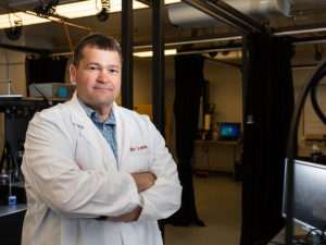 Dr. Kirill Larin, University of Houston professor of biomedical engineering, is creating new technology to measure the elasticity of the cornea.