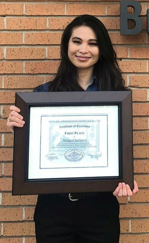 Makpal Sariyeva won first place in the Oral Presentation Undergrad Category.
