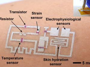 "A diagram of the ""drawn-on-skin electronics."""