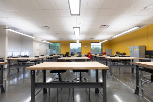 Some of the vibrant, new classroom space at the Houston Community College's Fraga Campus.