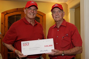 Dean Joseph Tedesco accepts a $25,000 check from Professor Larry Witte, chair of the UH Engineering Golf Committee. Photo by Tom Shea.
