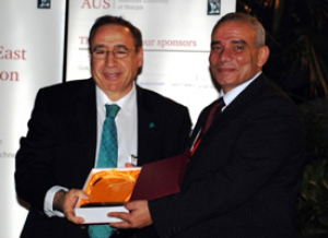 Conference Chair Hasan Al-Nashash, professor of electrical and biomedical engineering at American University of Sharjah, recognized Akay for his keynote address and his contributions to the conference.