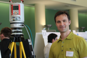 "Civil engineering major Nicholas Leschke with his presentation entitled ""Terrestrial Laser Scanner Tie Points."""
