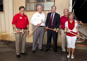 The Y demolition crew: John Odis Cobb (BSCE '71, MSCE '79), William Fendley (BSCE '71), Cullen College Dean Joseph Tedesco, Charles Beyer (BSCE '72, MSCE '77) and Nancy Beyer.